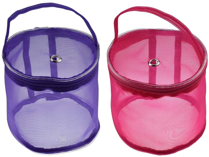 Katech 2 pcs Empty Mesh Yarn Bags Small Round Yarn Storage Case Portable Knitting Yarn Balls Organizer Baskets Crochet Thread Sewing Accessories Storage Tote Bags (Purple + Red)