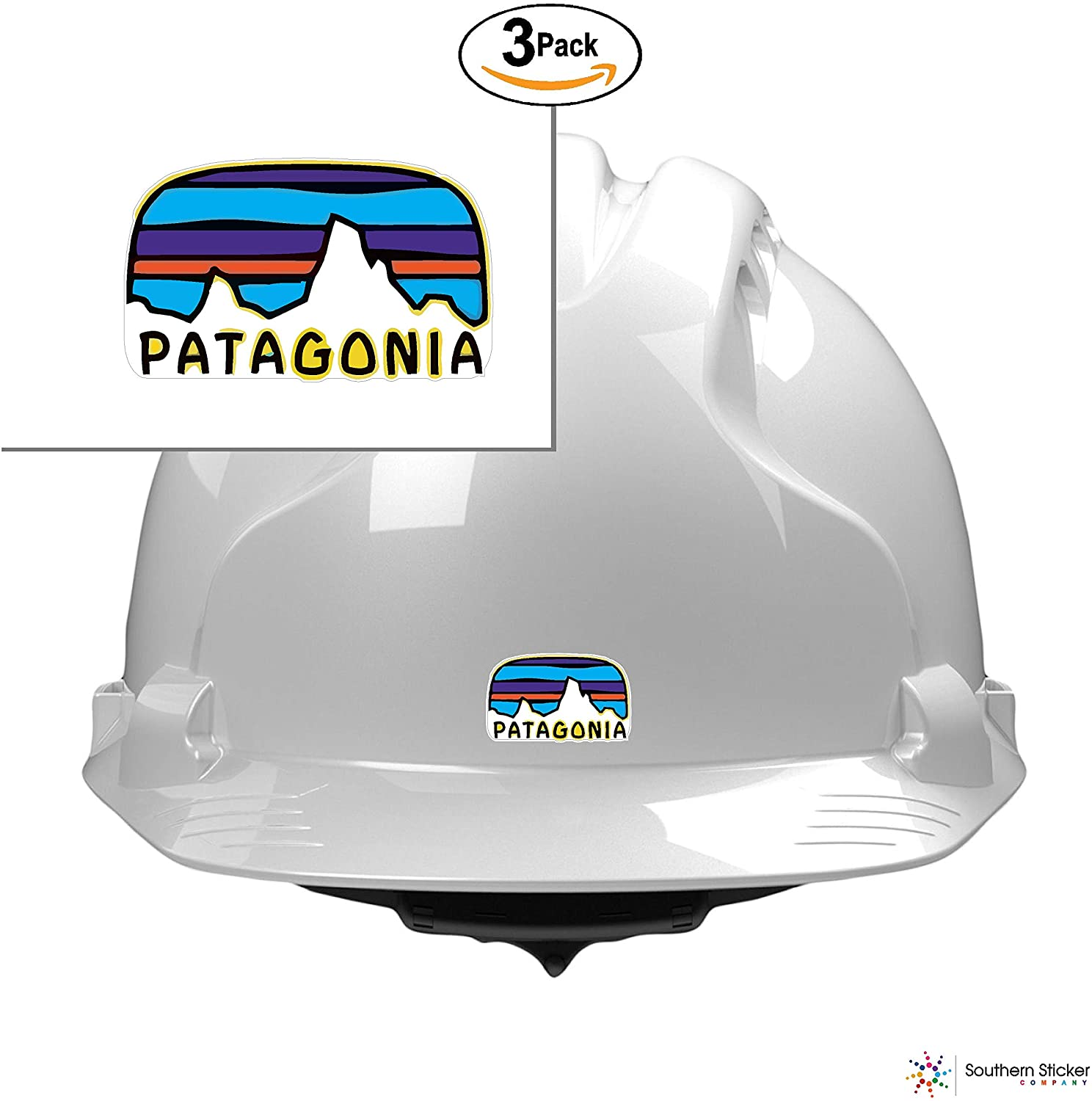 (3) Oval Patagonia Text Mountain Monte Fritz Roy Logo 2x1 Size inches Bumper Sticker Love Baby Laptop car Window Truck Adventure Outdoors - Made and Shipped in USA