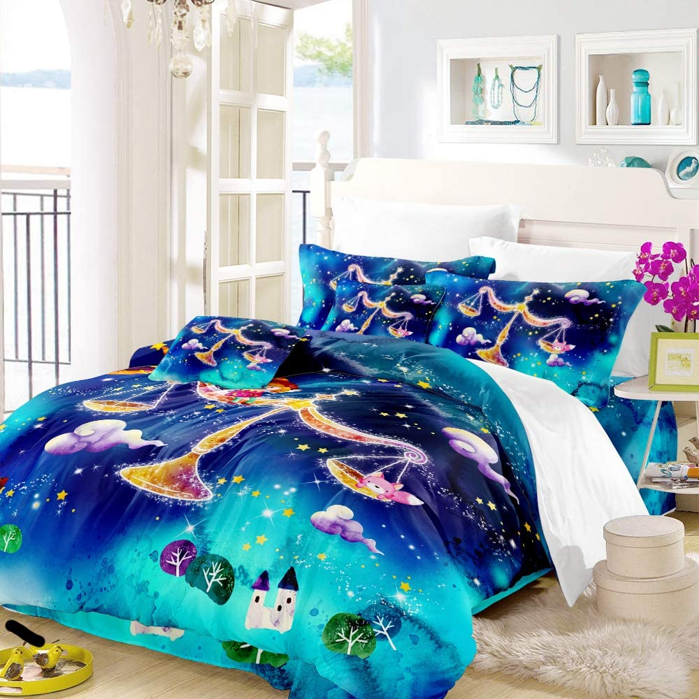 Earendel Twelve Constellations Bedding Set Colorful Starry Sky Duvet Cover Twin Full Queen King Quilt Covers Pillowcase Sheets 2/3/4 Pcs Cartoon Purple Bed Sets (11,Full-200×229cm(3PCS))