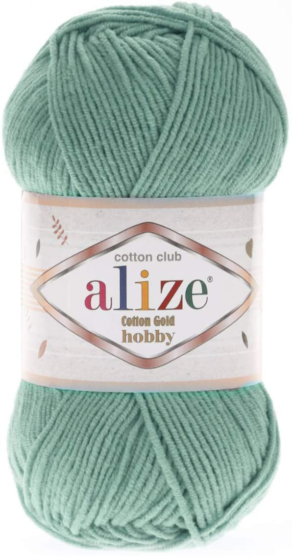 Alize Cotton Gold Hobby Yarn 55% Cotton 45% Acrylic Lot of 4 Skeins 200 gr 721 yds Knitting Acrylic Cotton Yarn (15 - Water Green)