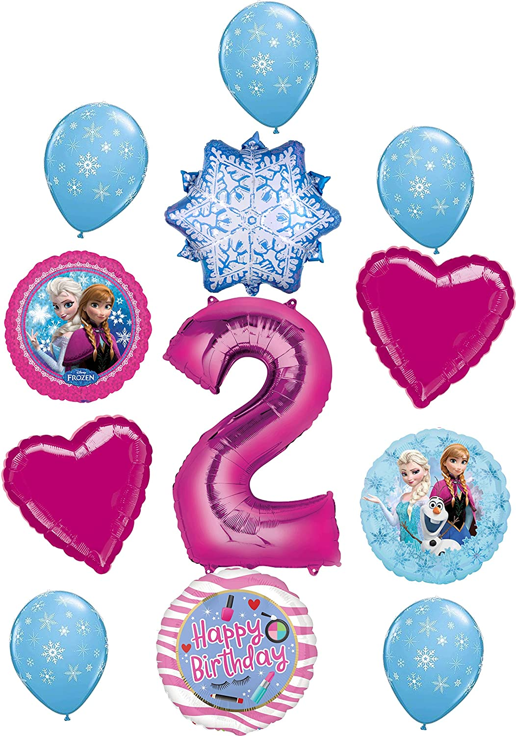 Frozen Party Supplies 2nd Birthday Balloon Bouquet Decorations Elsa, Anna and Olaf Let It Snow