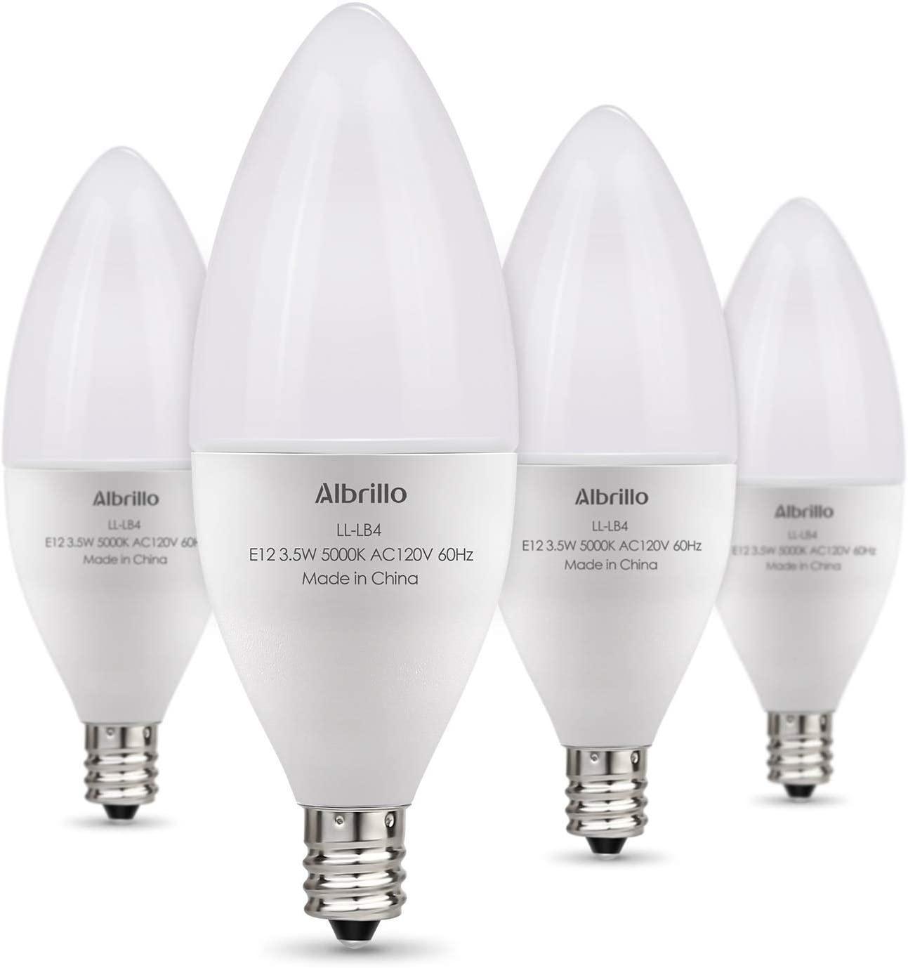 E12 LED Bulb - Albrillo Daylight White Ceiling Fan Light Bulbs, Small Base Chandelier Lights Non Dimmable, 4 Pack