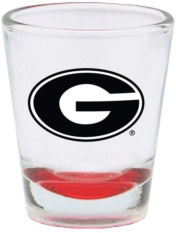RFSJ Georgia Bulldogs Shot Glass with Team Logo & Colored Bottom