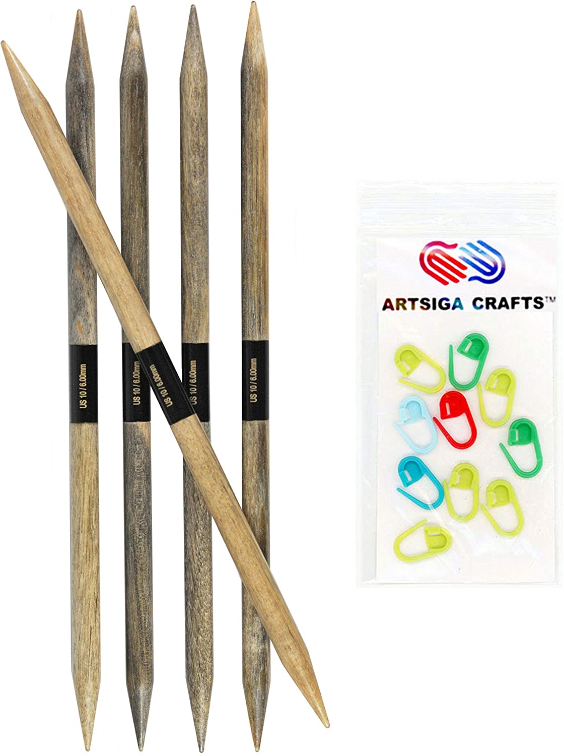 Lykke Knitting Needles Double Point DPN Driftwood 6 inches Long (15cm) US 10.5 (6.5mm) Bundle with Artsiga Crafts Stitch Markers