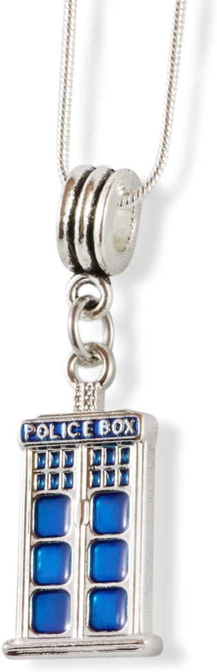 Police Box Necklace | Merchandise for the Famous Doctor TV Show with a Beautiful Silver and Blue Police Box Charm a Great Gift for Women Men Boyfriend Girlfriend or Fans of the TV Show