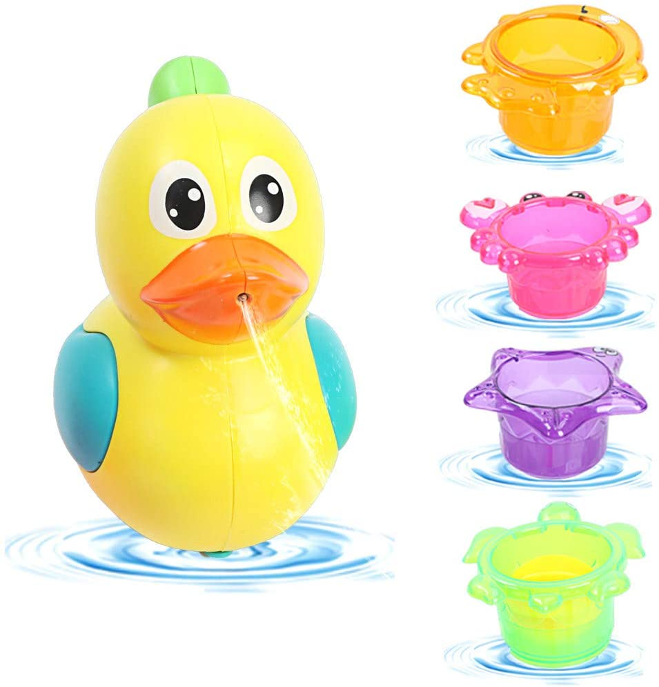 Baby Bath Toy, Stacking Cups for Toddlers, Sea Animal Stacking Cups Spray Shower Early Educational Fun Water Toy for Indoor Outdoor Beach Bathtub