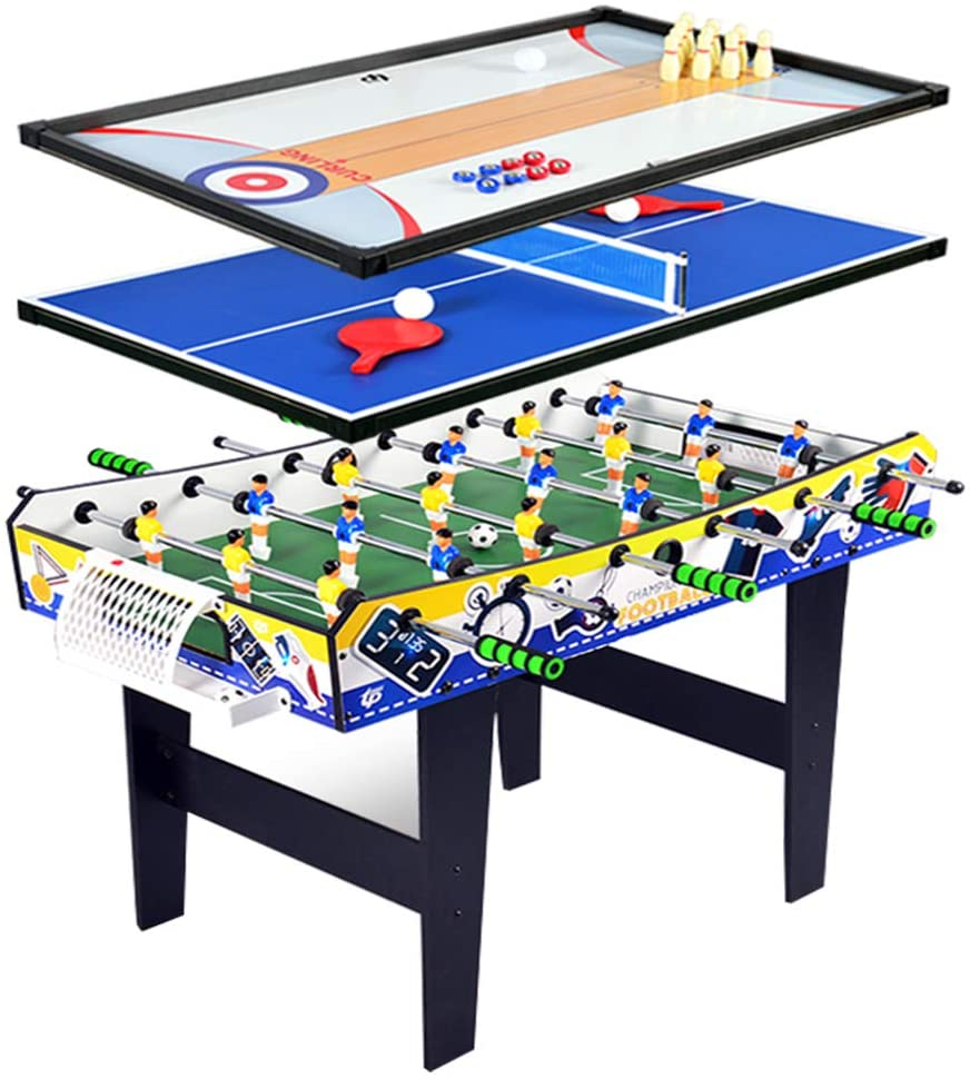 HJ Foosball Table 4 in 1 Multi Function Combo Game Table Included Soccer Foosball Table, PingPong Table, Shuffleboard Table, Bowling Table, Table Tennis, Curling Counts for Kids and Adults, 40-in