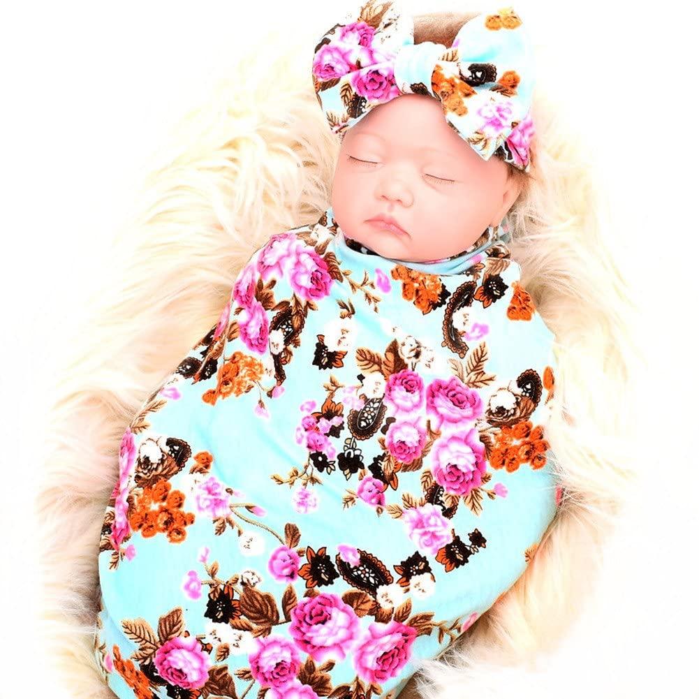 Galabloomer Newborn Baby Sleep Receiving Blanket and Bow Headband Set Baby Swaddle Blanket