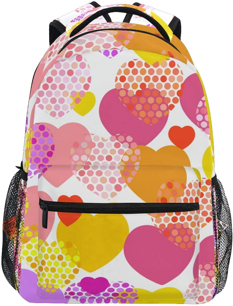 School Backpack Pink Orange Lilac Red Yellow Heart Bookbag for Boys Girls Elementary School Casual Travel Bag Computer Laptop Daypack