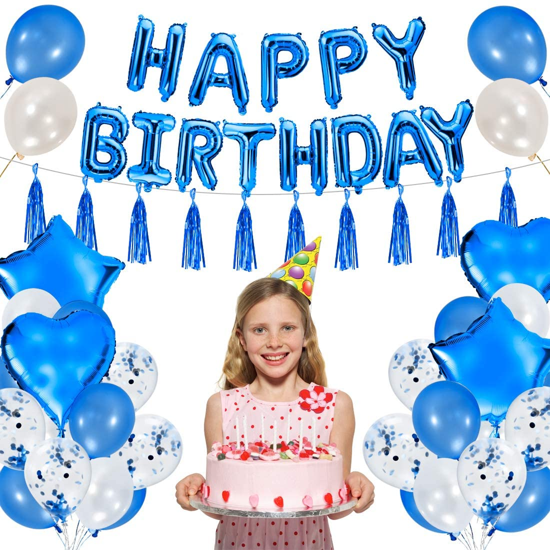 Happy Birthday Decorations - Royal Blue Party Supplies 56PCS - Latex Balloons, Confetti Balloons, Star and Heart Foil Balloon, Tassels, Banner, Pump - Party Decorations for Boy Girl Women Men