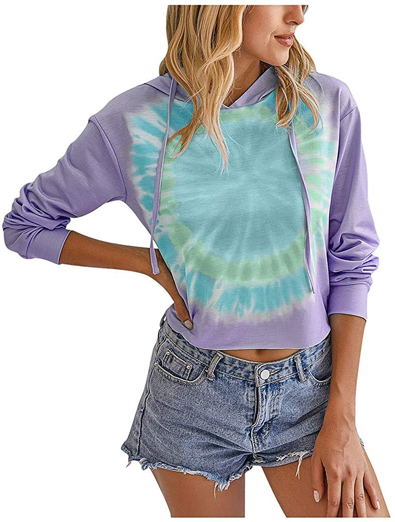 Ghazzi Women's Casual Spiral Tie Dye Sweatshirts Color Block Crew Neck Long Sleeve Hoodie Sweatshirt Loose Fit Pullover Tops