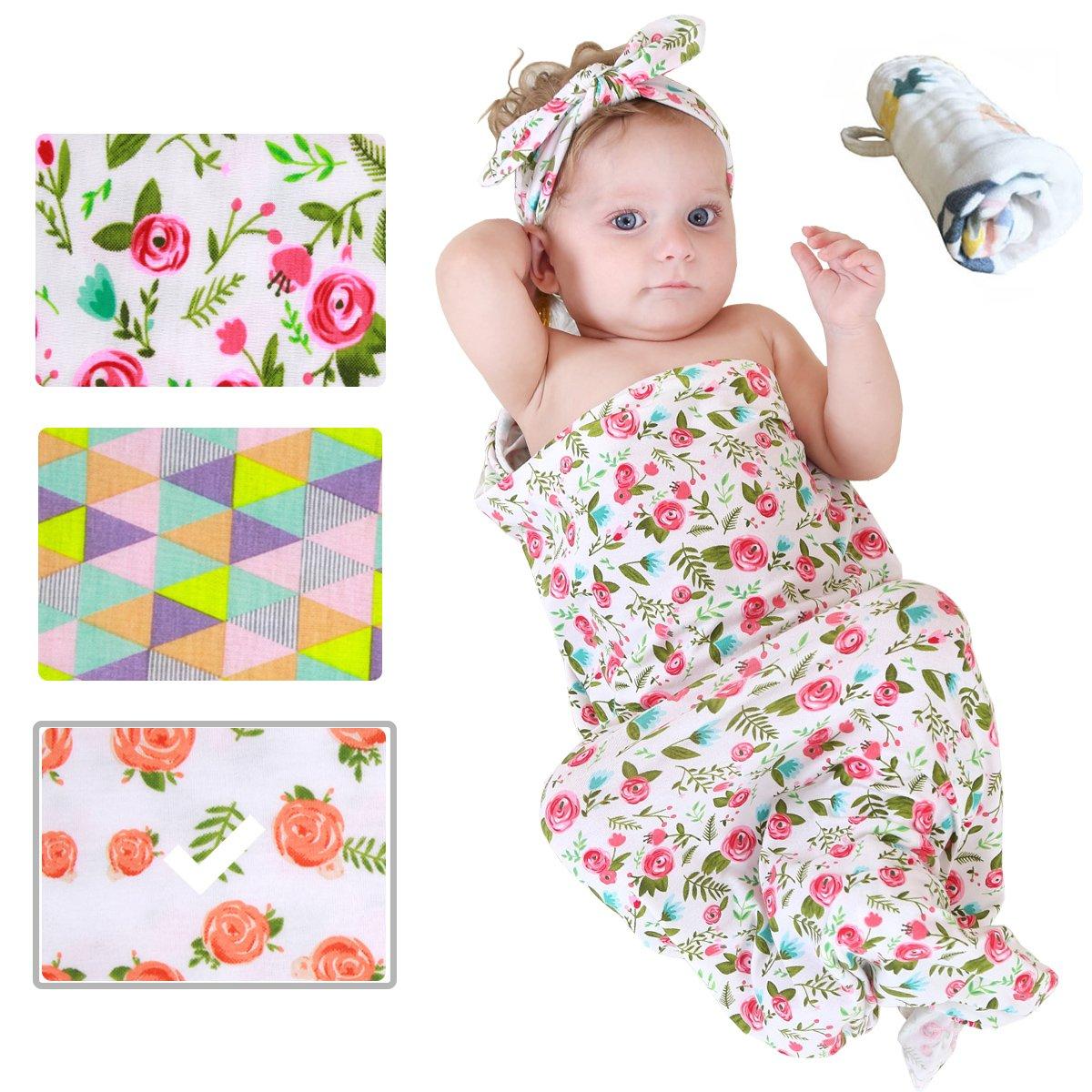 Momloves Newborn Baby Sleep Swaddle Blanket and Headband Value Set,Baby Blankets for Boys & Girls, Newborn Receiving Blanket, Free Baby Towels (Orange Rose)