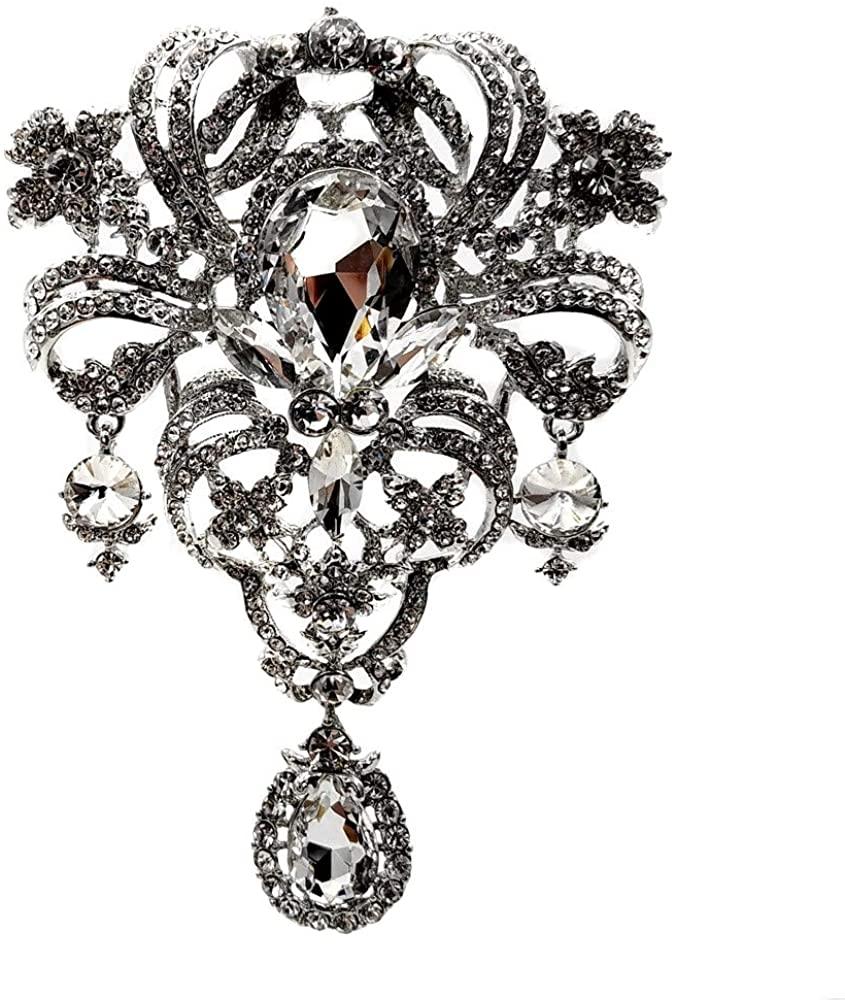 Dreamlandsales Luxury Vintage Scroll Floral Crystal Rhinestone Oversize Wedding Teardrop Brooch Pin Bridal Jewelry