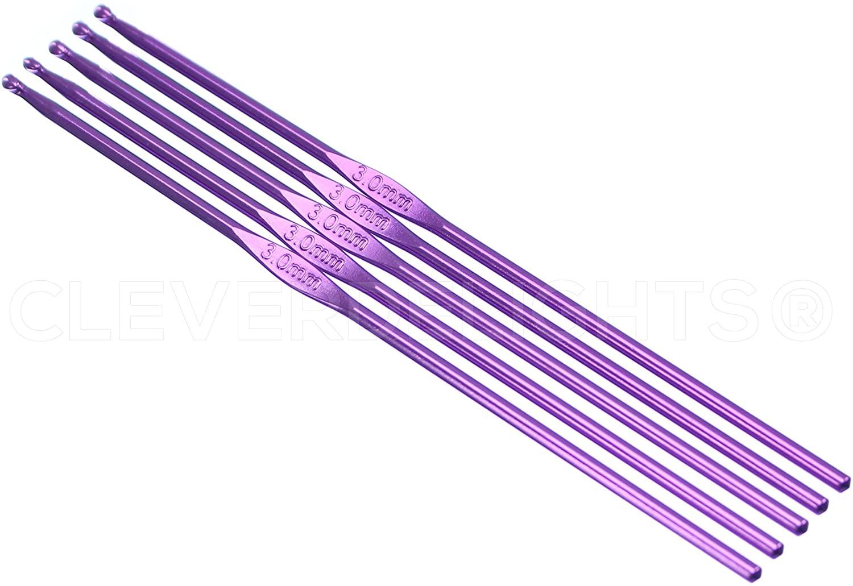 10 Pack - CleverDelights Size D (Size 3) Aluminum Crochet Hooks - 6