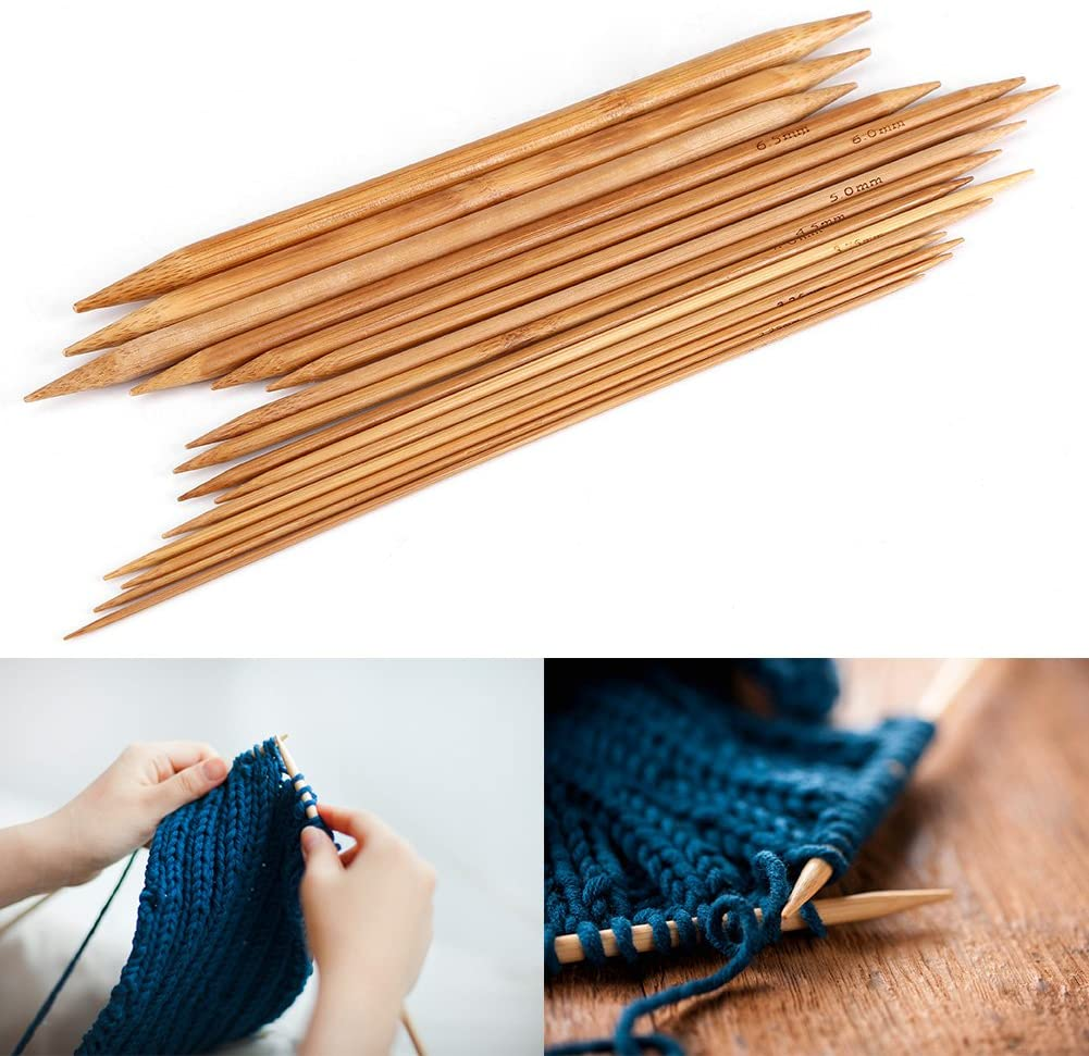Dibiao Smooth Double Pointed Bamboo Knitting Needles Set 15 Sizes from 2mm to 10mm