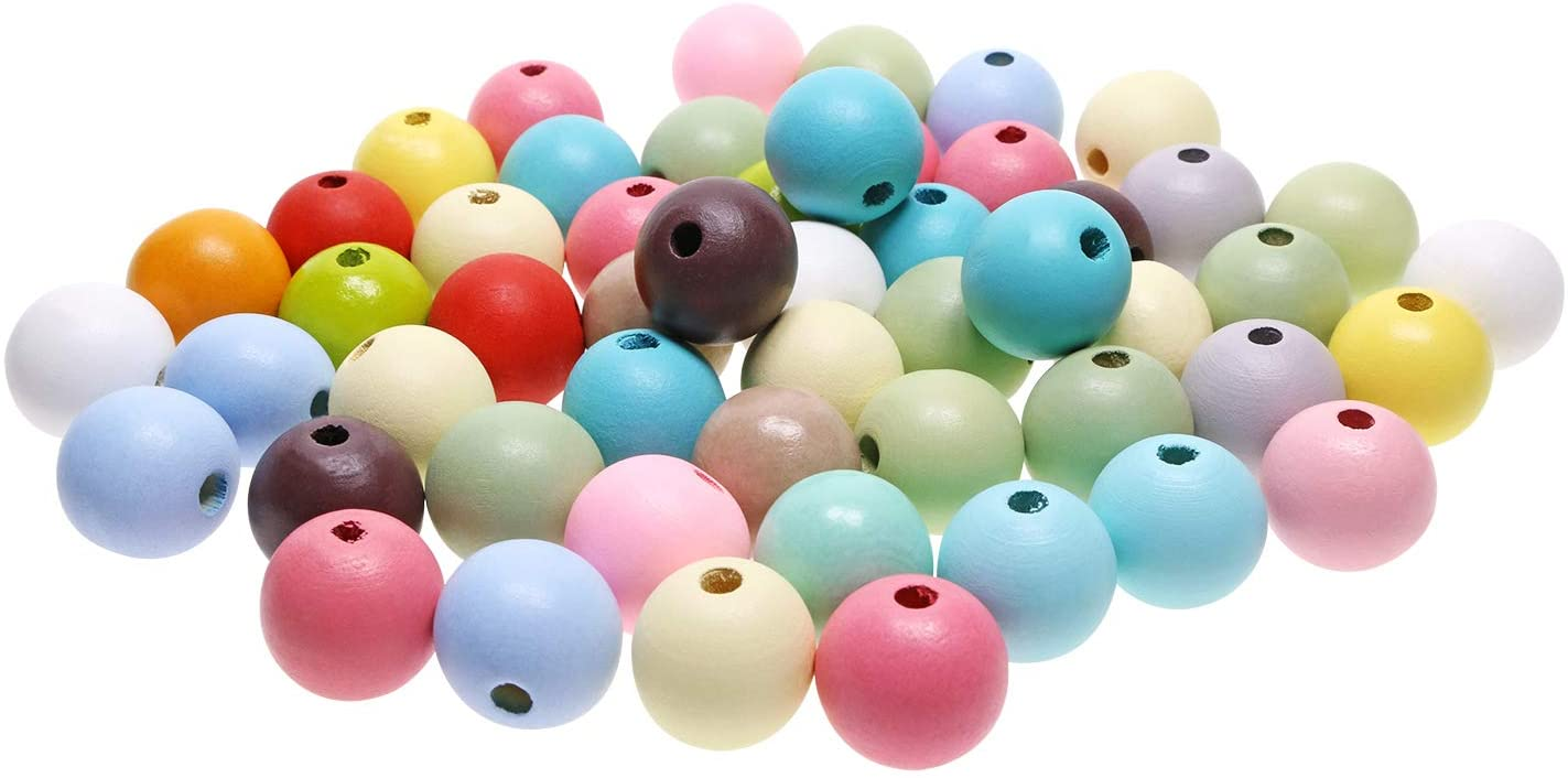 Penta Angel 50PCS 25mm/1 Assorted Color Round Wood Beads Unfinished Wooden Spacer Loose Beads Ball with 5mm Hole for DIY Jewelry Making(Multicolor Round Beads)