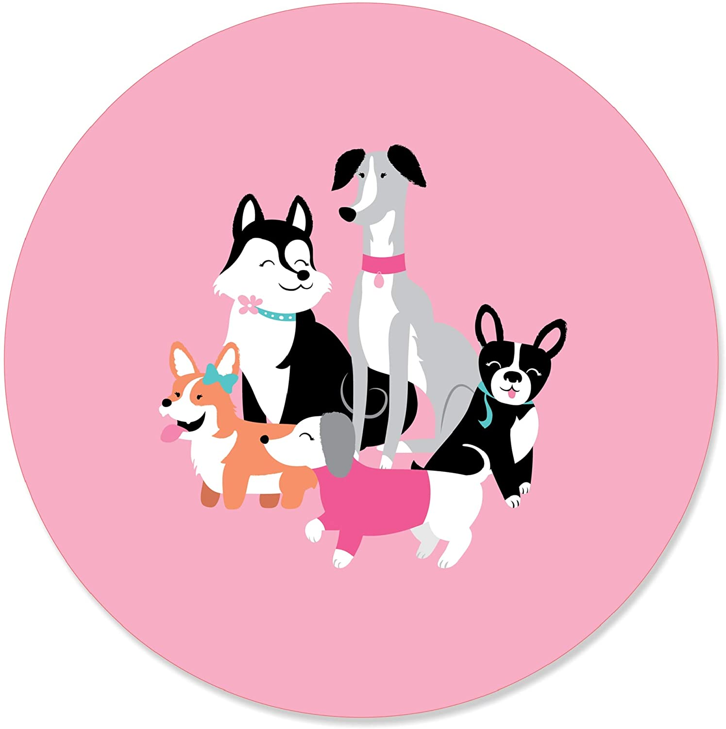 Pawty Like a Puppy Girl - Pink Dog Baby Shower or Birthday Party Circle Sticker Labels - 24 Count