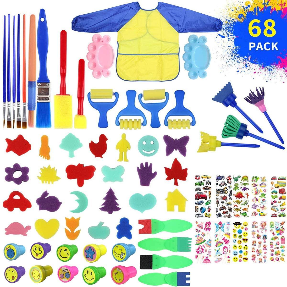SunshineFace 68pcs/lot Kids Sponge Painting Brushes Set, Child Painting Brushes Stamps Stickers Long Sleeve Waterproof Apron Toys Gift