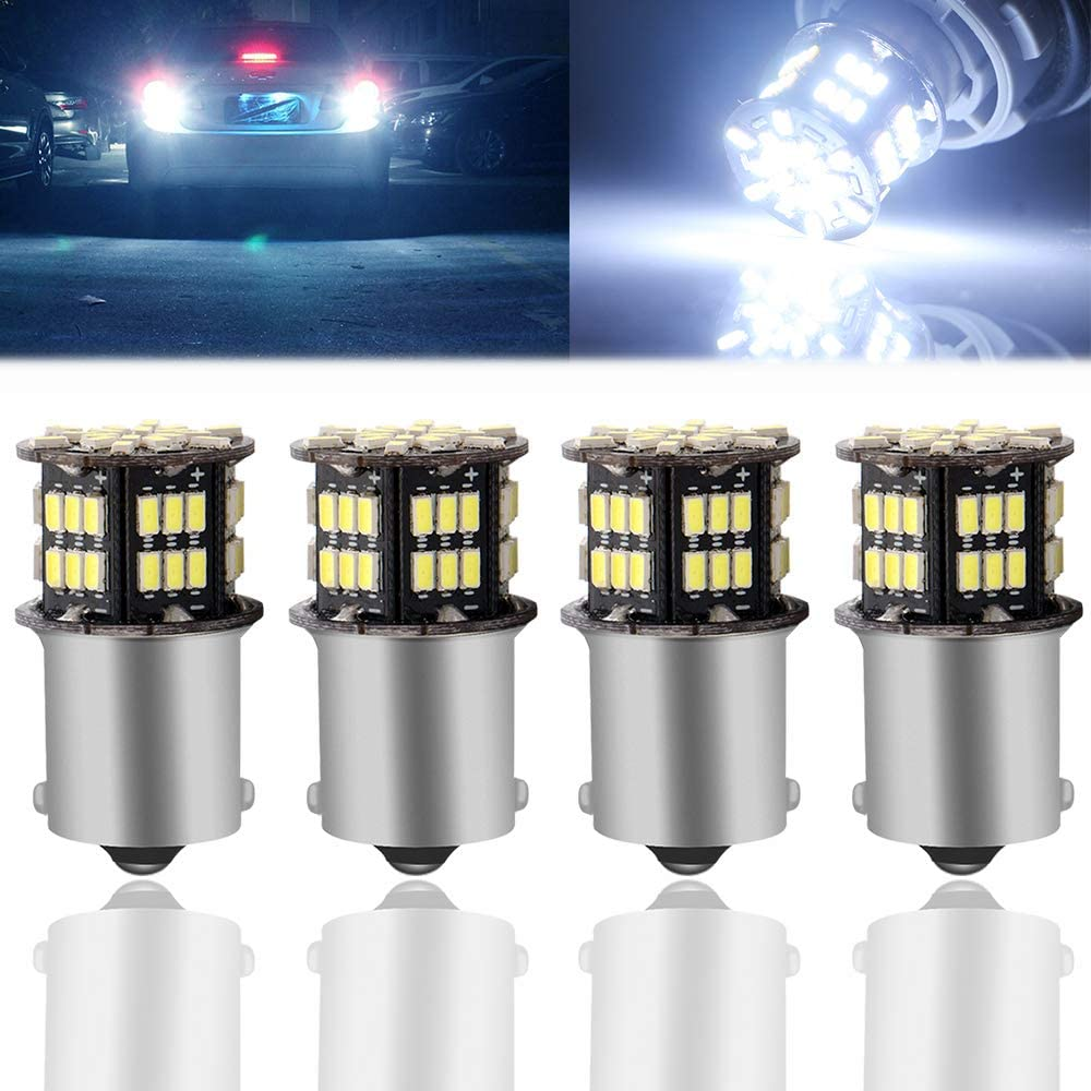 GLL 1156 1141 1003 1073 BA15S 7506 54 SMD 3014 LED Replacement Light Bulbs for Back-Up Reverse Turn Signal Brake Stop Tail Lights White Pack-4
