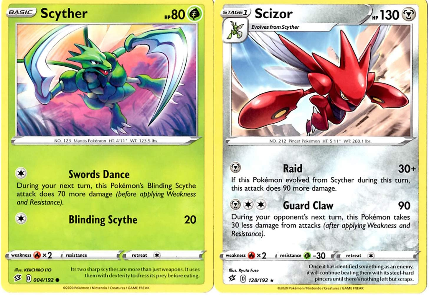 Pokemon Rebel Clash Evolution Set - Scizor 128/192 - Sword & Shield - Rare 2 Card Lot