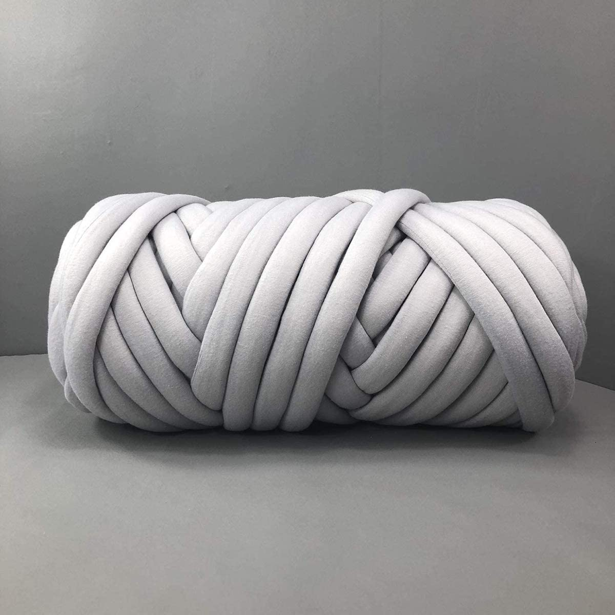 Chunky Cotton Tube Yarn Thick Vegan Yarn Merino Wool Alternative DIY Bulky Knitting Blanket Hand Knitting Spin Yarn Machine Washable Gray 4.4 LB