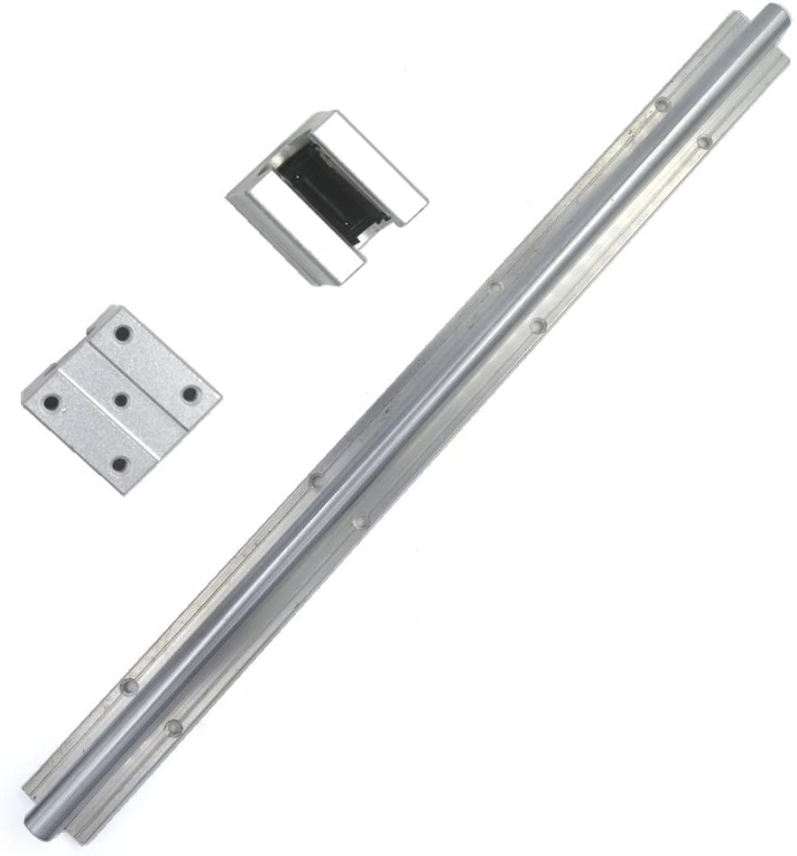 Ewead,Silver 300mm SBR20 Support Linear Rail Shaft Guide CNC Linear Motion Dia 20MM and SBR20UU Open Linear Bearing Slide Pack of 3