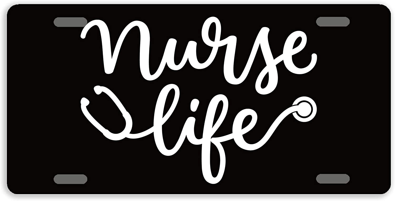SmartCows License Plate Covers Nurse Life License Plate Decorative Auto Tag Car Tag Sign Metal Novelty License Plate 4 Holes, 12 x 6 Inches