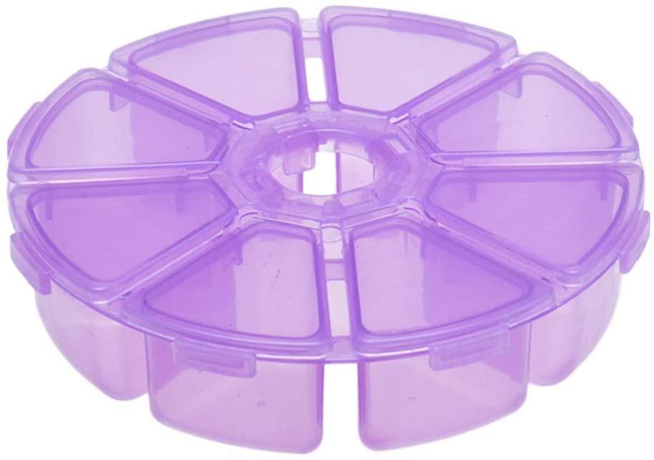 AKOAK 1 Pack Round 8 Storage Box Storage Box for Storing Earrings, Rings, Beads, Pills, etc (Purple)