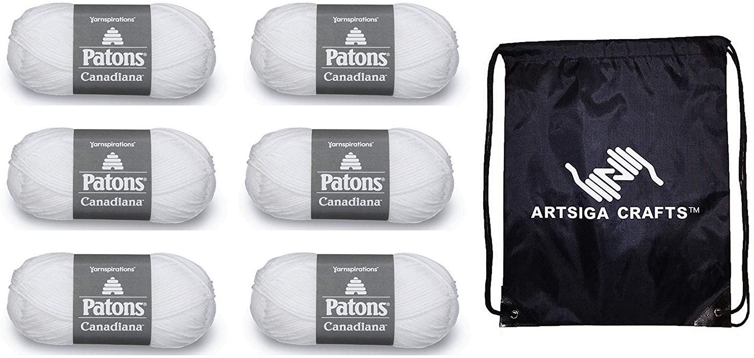 Patons Knitting Yarn Canadiana Solids White 6-Skein Factory Pack (Same Dye Lot) 244510-10005 Bundle with 1 Artsiga Crafts Project Bag