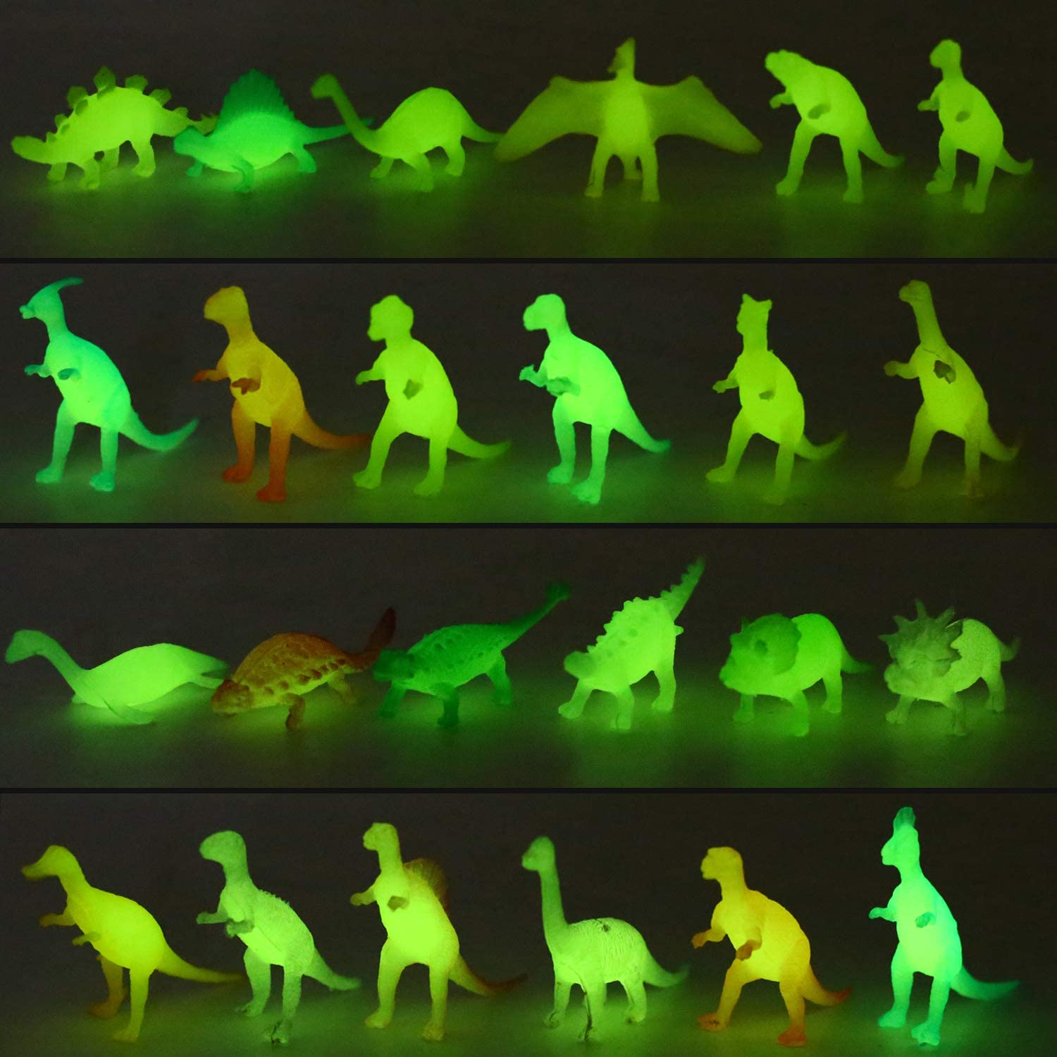Yeonha Toys 80 Piece Glow in Dark Mini Dinosaur Toy Set(24 Style), Plastic Realistic Dino Figure, Luminous Noctilucent for Kid Birthday Party Favors Goody Bag Cake Toppers Pinata Easter Eggs Filler