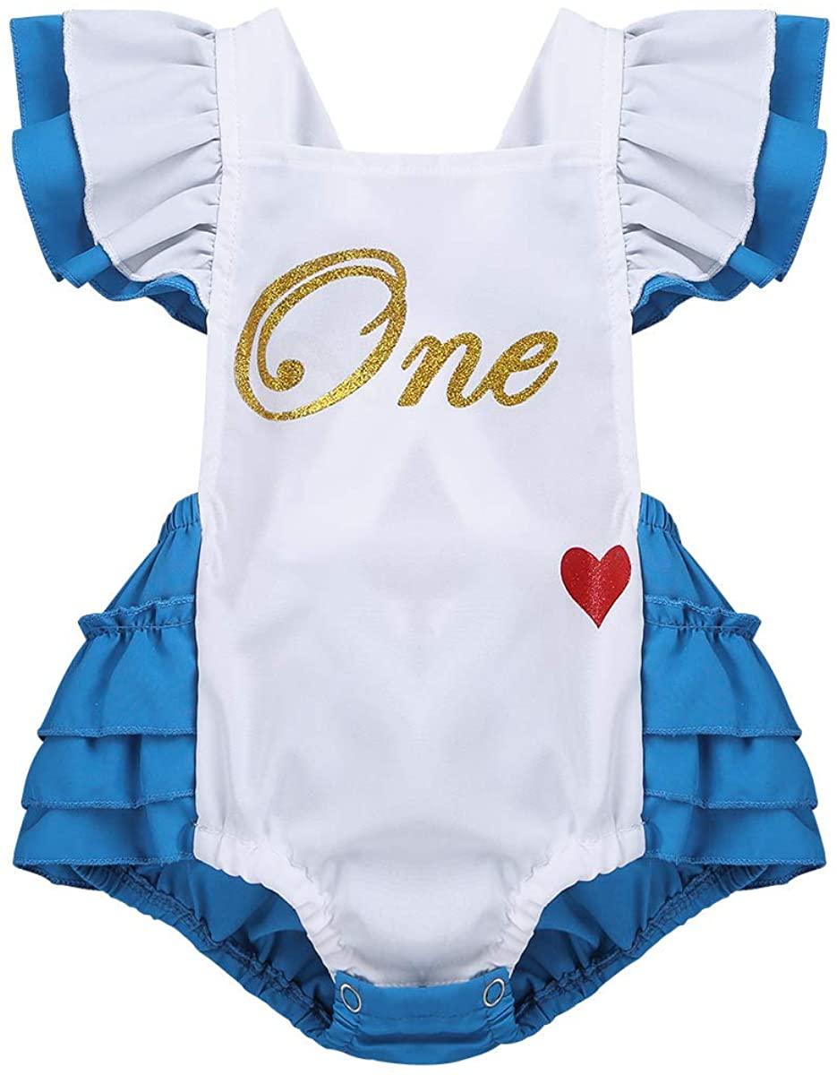 iiniim Infant Baby Girls One-Piece Flutter Sleeves Romper Bodysuit First Birthday Princess Princess Cosplay Costumes White&Blue 0-6 Months