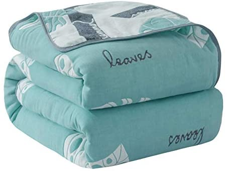 FlySheep 6 Layers of 100% Hypoallergenic Toddler Muslin Cotton Blanket Summer Quilt - Super Soft n Warm Baby Reversible Blanket (Green Leaves, 56