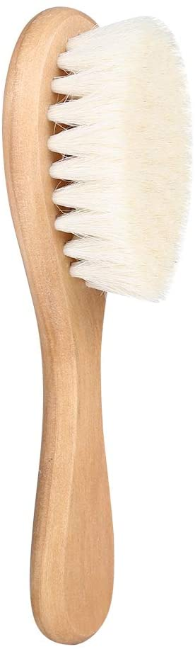 NCONCO Baby Brush, Soft Natural Goat Hair Baby Infant Head Massage Grooming Comb with Wooden Handle