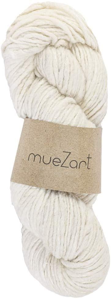 Muezart 100% Natural Erilina Hand Spun Eri Silk Yarn | 100g Skein 110 Yards (Approx) | Single Yarn Worsted | Weaving, Crochet | Undyed