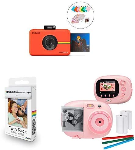 Polaroid SNAP Touch 2.0 – 13MP Portable Instant Print Digital Photo Camera (Red), with Extra Paper and Kids Instant Print Camera & Video Camcorder Bundle with Frames, Filters for Hours of Fun - Pink