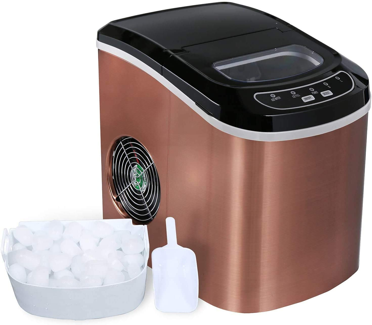 Ice Maker Machine Countertop, Ice Cubes Ready in 6 Mins, Make 26 lbs Ice in 24 Hrs with 2 Size (S/L), Compact Electric Ice Maker with Ice Scoop and Basket (COPPER)