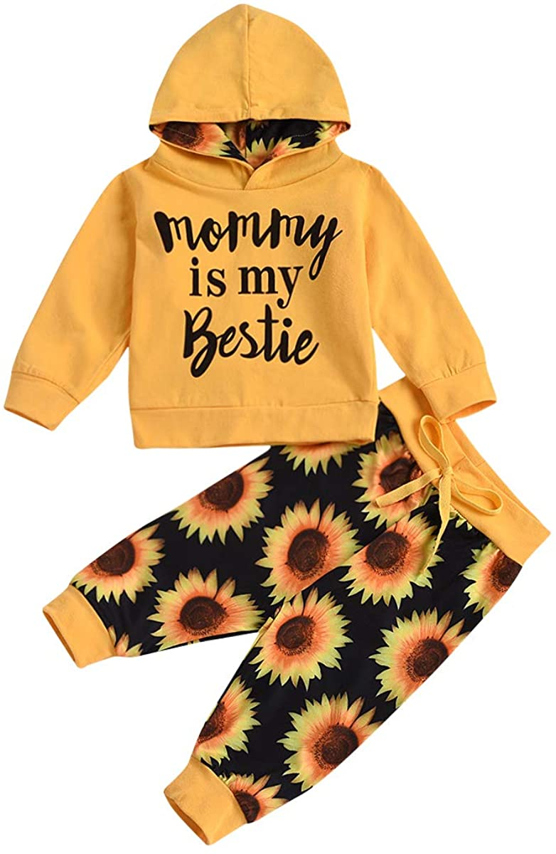 Baby Girl Hoodie Sweatshirt Pullover Sweater Hooded T-Shirts Sweat Pants Fall Winter Outfit Clothes Set