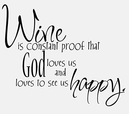 ttnan Wine is Constant Proof Quote Inspirational Decal PVC Bedroom Kid Home Wall Sticker Decoration 62X51Cm