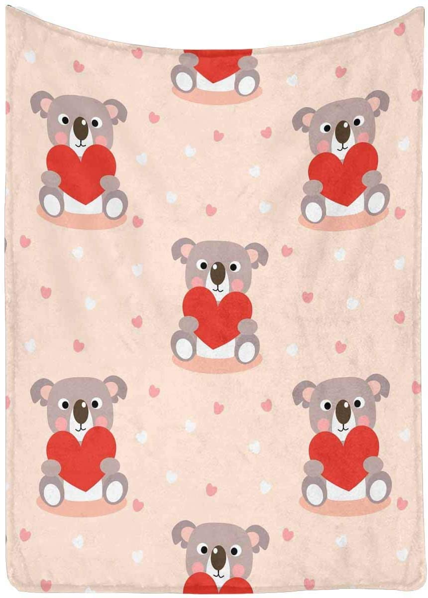 "InterestPrint Cute Koala and Red Heart 60"" x 80"" Ultra Soft Micro Fleece Blanket for Kid Baby Adults"