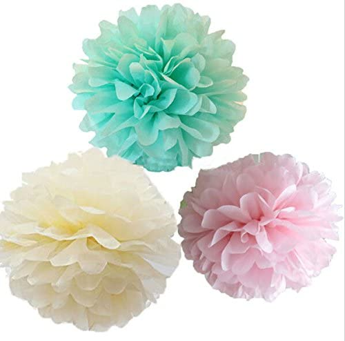 Krismile Pack of 12 Mixed Mint Ivory Pink Party Tissue Pompoms Paper Flower Pom Poms Wedding Birthday Party Girls Room Decoration
