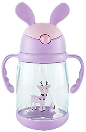 ZHENLI Kids Children's Cartoon Rabbit Ears with Handle Drinking Straw Learning Cup 550ML