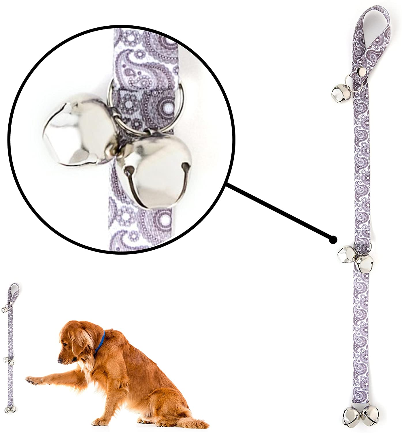 Mighty Paw Tinkle Bells 2.0, Designer Dog Doorbells, Stylish Fabric with Premium Quality Jingle Bells, Housetraining Doggy Door Bells for Potty Training, Includes Free Wall Hook