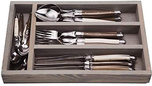 (D) Laguiole Flatware, Everyday Flatware Set with Linen Handles in a Tray 24-pc