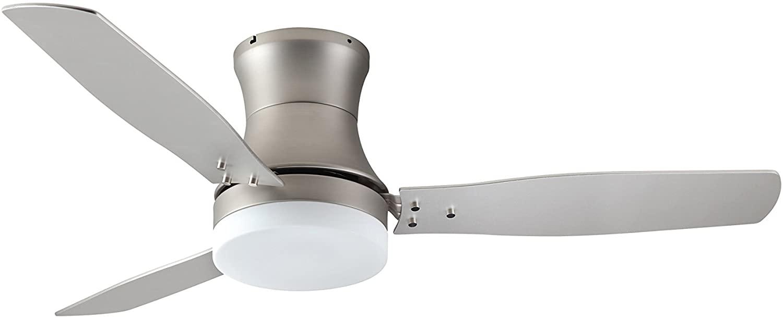 TroposAir ModernAire Flush-Mount Hugger Ceiling Fan in Satin Steel with 52