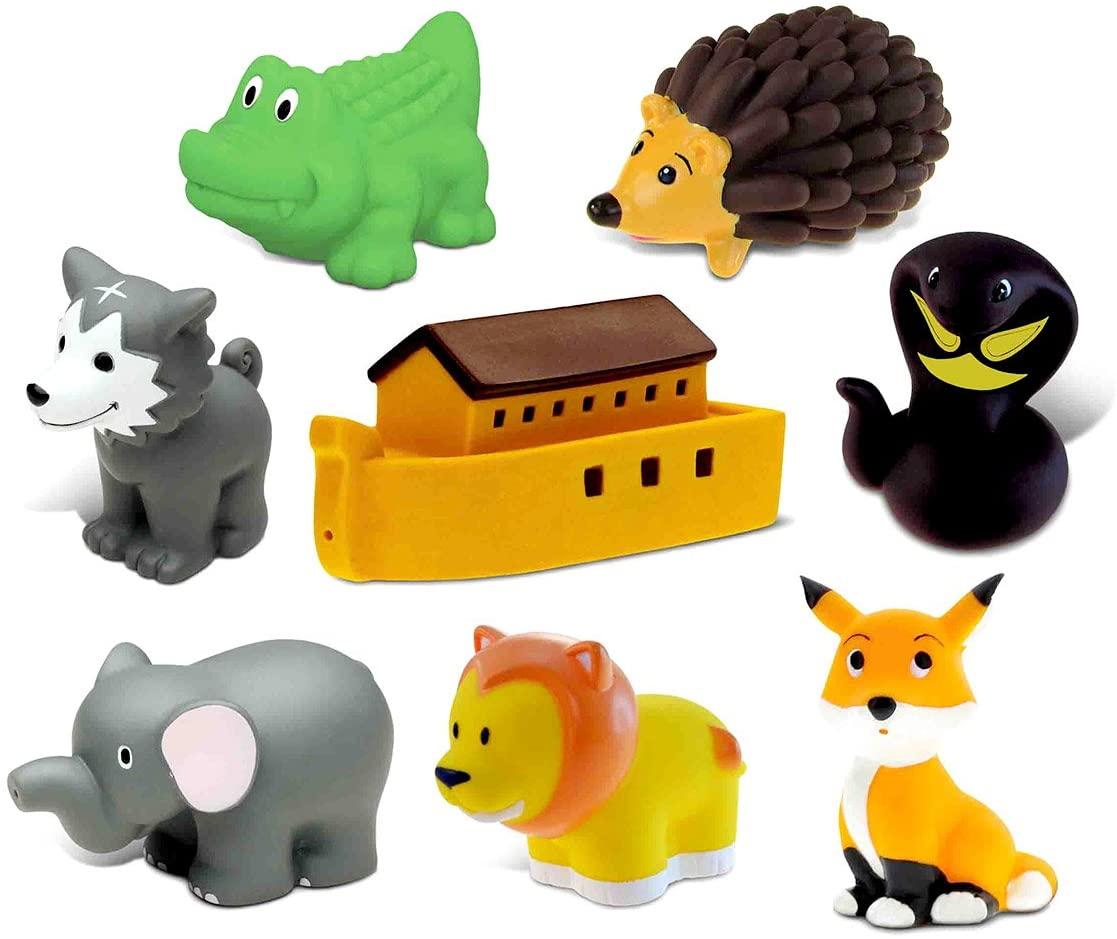 Dollibu Bath Buddies Noahs Ark and Critters Rubber Squirter Toys - Boat, Fox, Hedgehog, Elephant, Lion, Wolf, Snake, Alligator - 3 inch - for Baths, Pool, Outdoor - Baby Bathtime Learning (8pc Set)