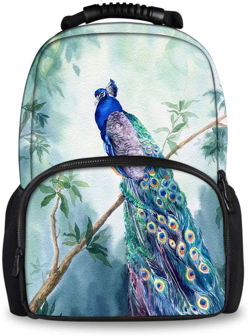 Funny Novelty School Bag Backpack for Boys Girls Adult Book Bag, Large Capacity Travel Laptop Daypack, Watercolor Peacock Inspiring Bags with Side Pockets