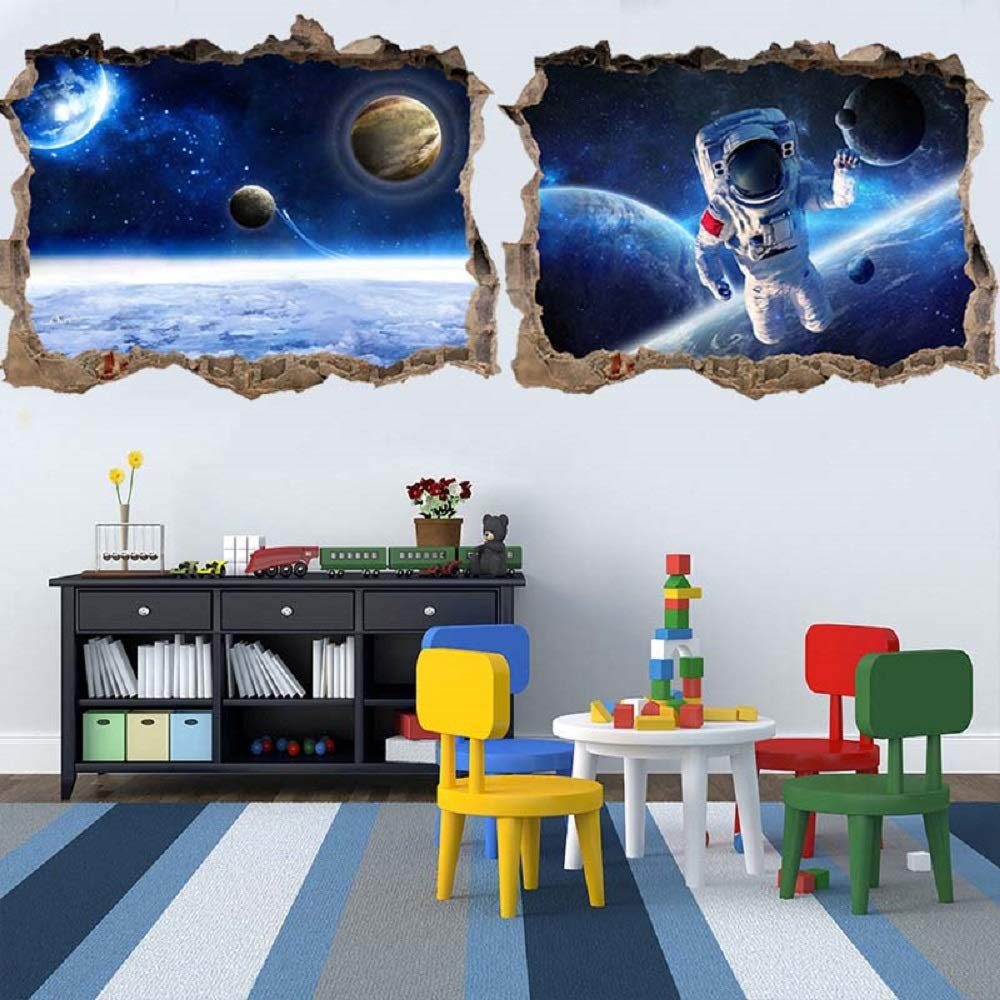 HERRA 3D Planet Universe Galaxy Outer Space Wall Decal Spacecraft Astronaut Wall Stickers, Peel and Stick Removable Space Capsule Window Wall Stickers Wall Mural for Kids Room (Blue)