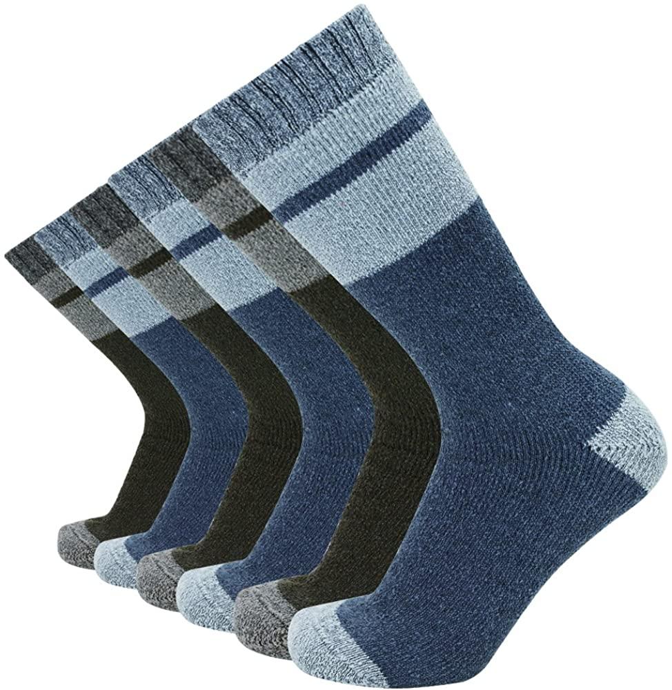 Enerwear Men's Cotton Thick Cushion Hiking Crew Boot Socks (6/10 Packs)