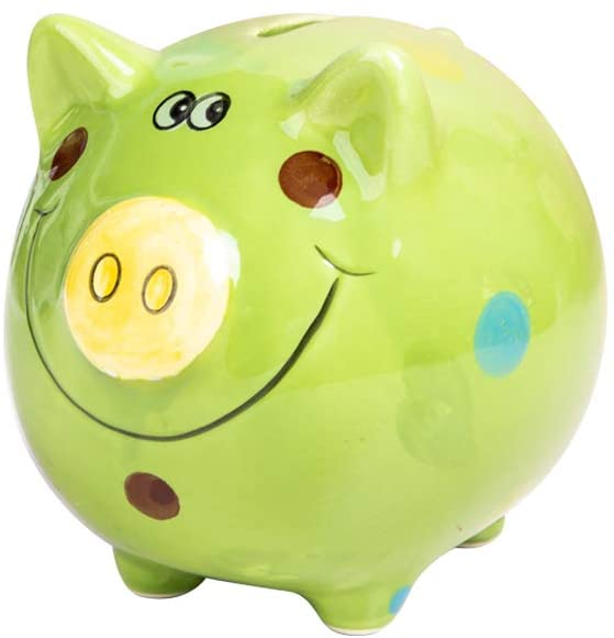 JYPHM Ceramic Piggy Bank for Kids Coin Bank for Boys and Girls Unique Birthday Gift Nursery Decor Piggy Banks Green (5x5x4inch)