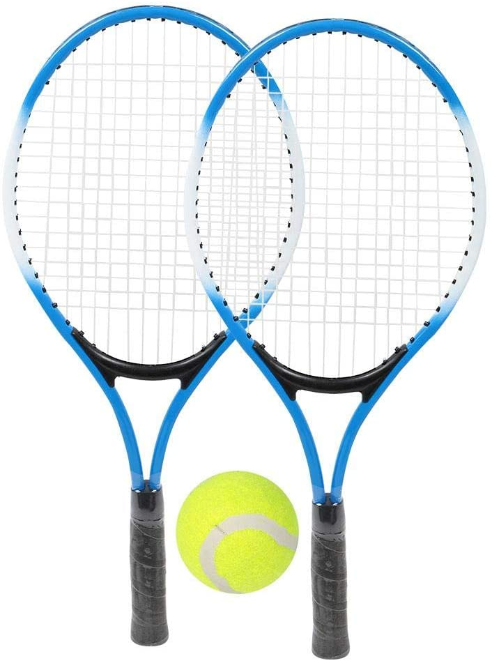 Iron Alloy Children Tennis Racquet Super Light Weight Tennis Racquets Shock-Proof and Throw-Proof Beginner Practice Racquet Accessory with Ball and Carry Bag for Boys and Girls